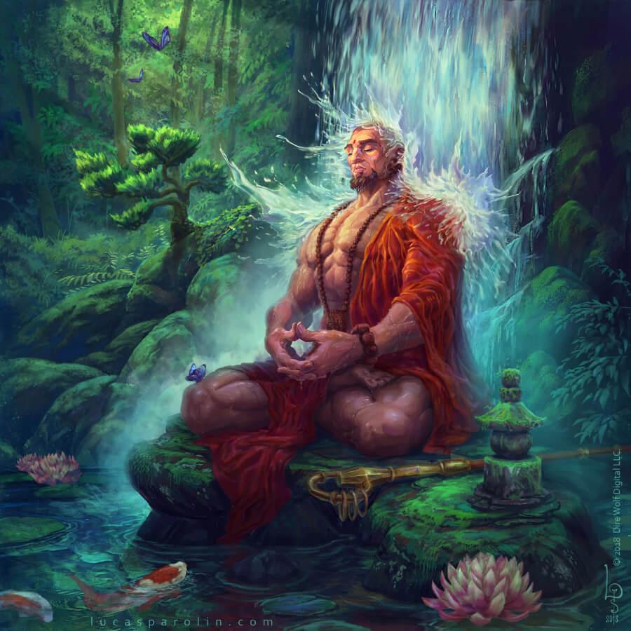 Монах в лесу пытающийся достичь самадхи