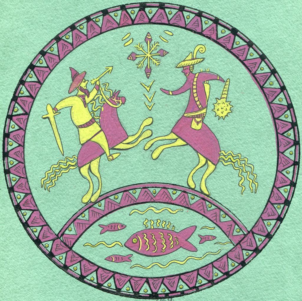 Рисунок мезенской росписью
